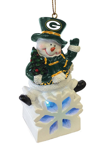 evergreen,team,sports,america,green bay packers,snowman,snow,man,LED,light,up,ornament,christmas,xmas,holiday,décor,decoration,seasonal