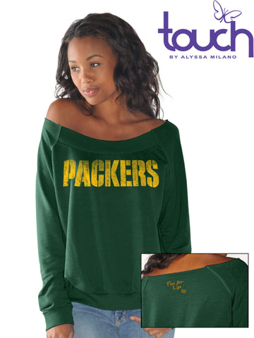 Green Bay Packers Draft Choice Off-Shoulder Long Sleeve Women's Sweatshirt