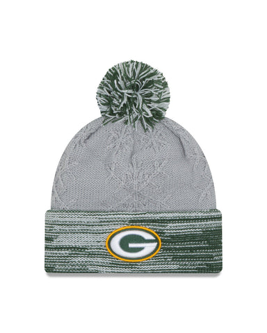 NFL Green Bay Packers Women's Snow Crown Redux Knit Beanie, One Size, Gray