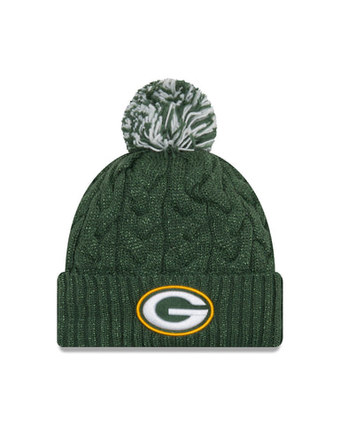 Green Bay Packers Cozy Cable Pom Knit Hat