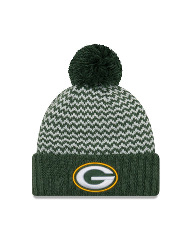 Green Bay Packers Patterned Pom Knit Hat