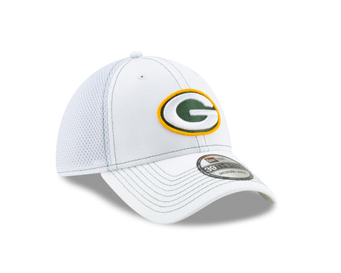 Green Bay Packers 39THIRTY White Team Neo Flex Fit Hat
