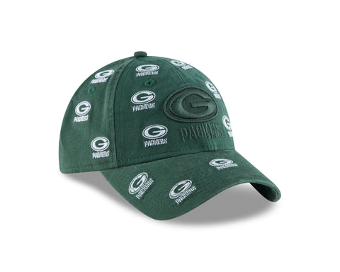 Green Bay Packers Logo Scatter 9TWENTY Women's Adjustable Hat