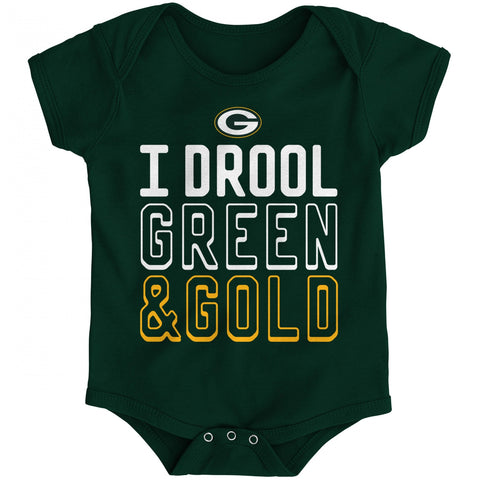 Green Bay Packers I Drool Green & Gold Baby Boys Creeper