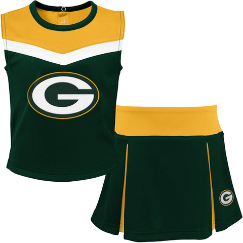 Green Bay Packers Green/Gold Two-Piece Spirit Toddler Cheerleader Set