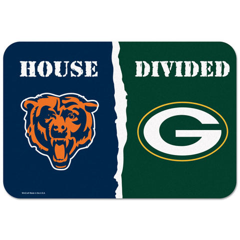green bay packers,chicago,bears,house,divided,floor,mat,decor,decoration,rug,house,mat