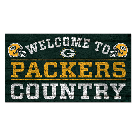 wincraft,green bay packers,welcome,to,packers,country,wooden,plank,sign,decoration,décor,wall,hanging,man,cave