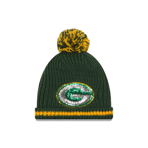 new era,green bay packers,sequin,frost,knit hat,cap,winter,clothing accessories,headwear