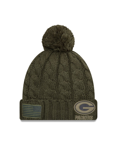 Green Bay Packers 2018 On Field Salute to Service Women's Knit Hat with Pom