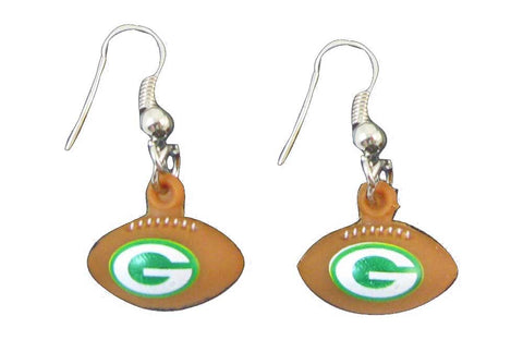 Green Bay Packers 3D Football Dangle Earrings