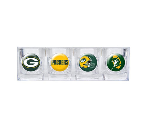 green bay packers,shot,glass,set