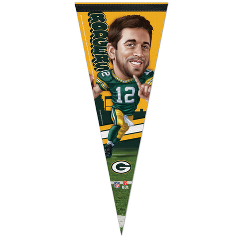 wincraft,win,craft,green bay packers,aaron rodgers,caricature,premium,pennant,sports,memorabilia,flag,souvenir,home,decor,decoration,mancave,man,cave