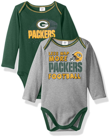 Green Bay Packers Baby Boys Long Sleeve Bodysuit, 2-Pack