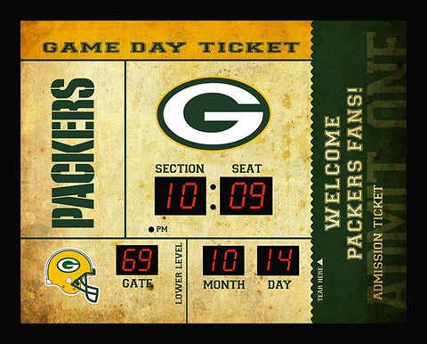 evergreen,team,sports,america,green bay packers,bluetooth,scoreboard,score,board,blue,tooth,wall,clock,décor,decoration,mancave,man,cave