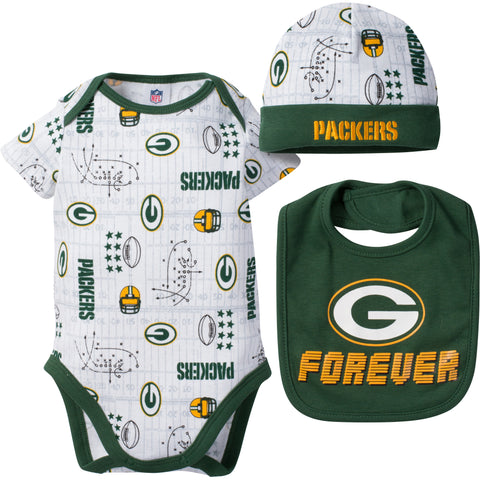 green bay packers,infant,child,toddler,cap,hat,bootie,bib,clothing set,onesie,creeper,romper