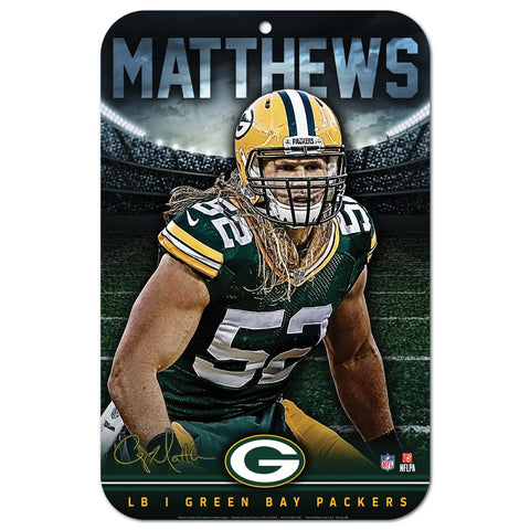green bay packers,clay matthews,plastic,sign