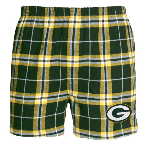 concept,sports,college,green bay packers,huddle,plaid,flannel,boxers,boxer,shorts,underwear,clothing accessories