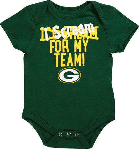 genuine,outerstuff,outer stuff,green bay packers,i,scream,for,my,team,infant,baby,boy,onesie,romper,creeper,clothing accessories