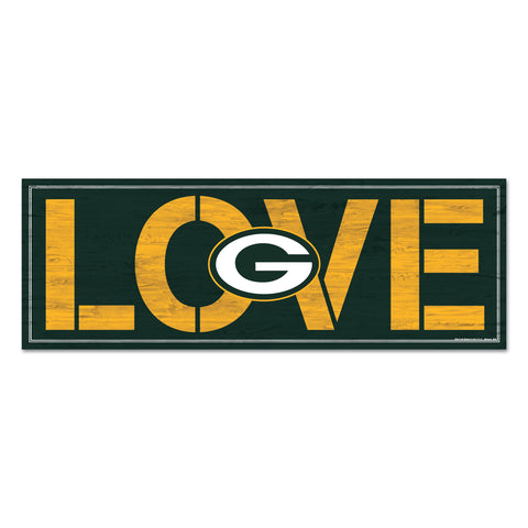 wincraft,green bay packers,love,wooden,plank,sign,decoration,décor,wall,hanging