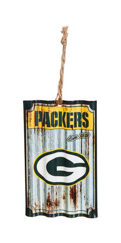 team,sports,america,evergreen,green bay packers,metal,corrugate,holiday,season,christmas,ornament,decor,decoration