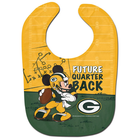 wincraft,green bay packers,mickey,mouse,future,quarterback,baby bib,feeding,toddler,infant