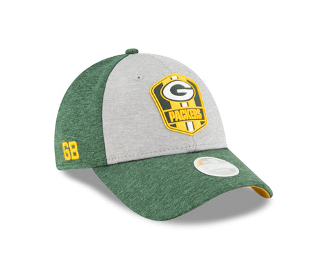 new era,green bay packers,9forty,940,on field,sidelines,2018,away,baseball cap,hat,stretch fit,headwear,clothing accessories