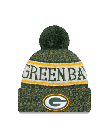 new era,green bay packers,2018,on field,kids,cold weather,beanie,skullie,hat,headwear,sport,knit cap,clothing accessories