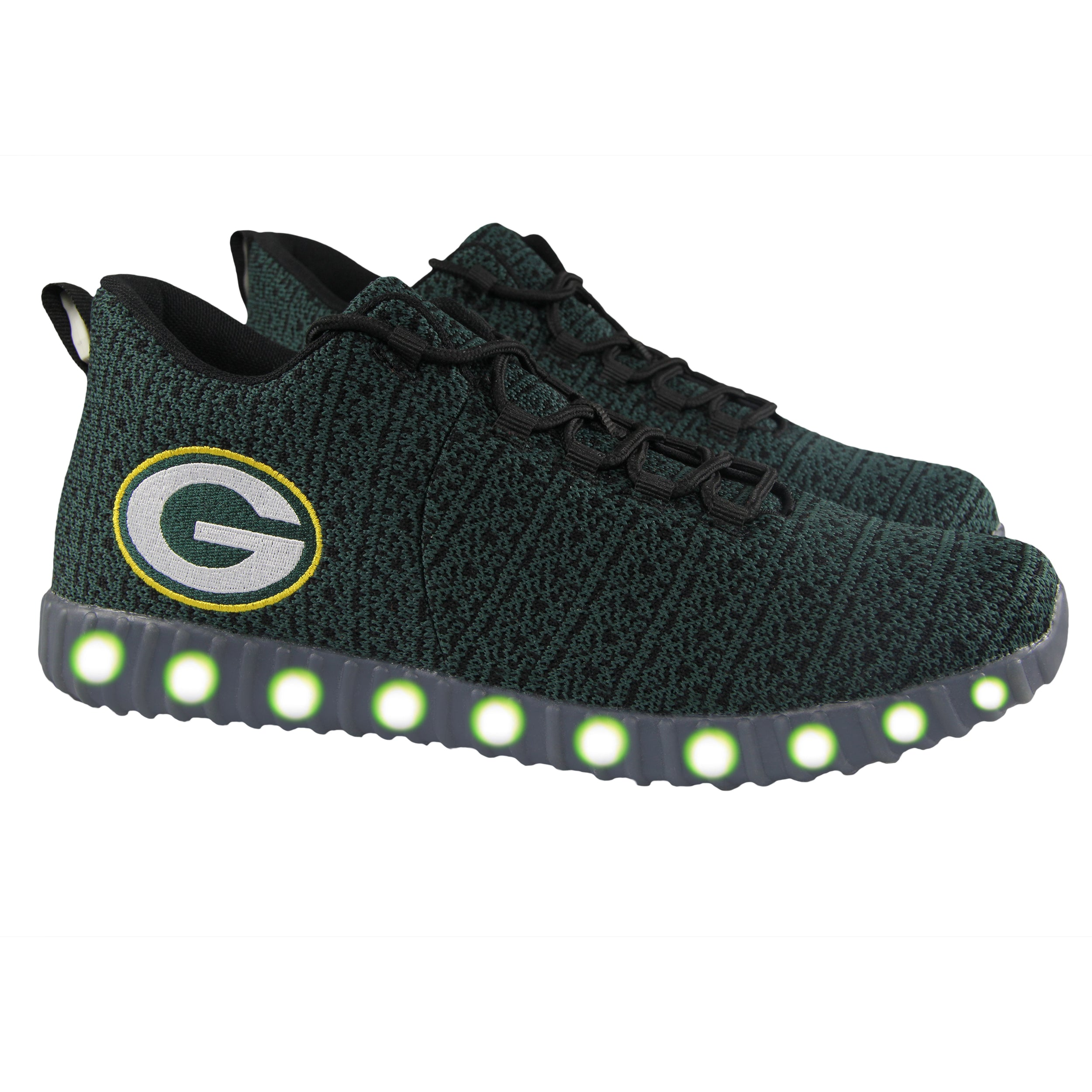 f9fba5279a25 Green Bay Packers Poly Knit Light Up Sneakers – Green Bay Stuff