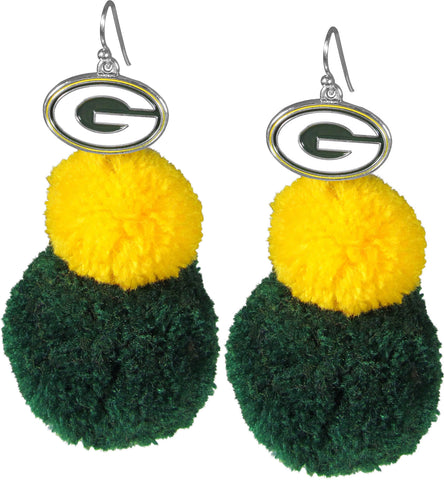 siskiyou,green bay packers,pom,pom,earrings,jewelry,clothing accessories