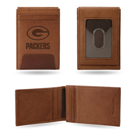 rico,inc,green bay packers,premium,leather,front,pocket,wallet,billfold,money clip,clothing accessories