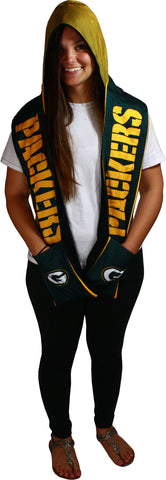 forever collectibles,green bay packers,hooded,scarf,scarves,shawl,wraps,clothing accessories,winter gear