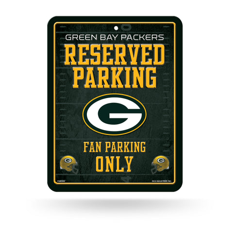 rico,inc,green bay packers,reserved,parking,fan,parking,only,tin,metal,sign,signage,home,decor,decoration