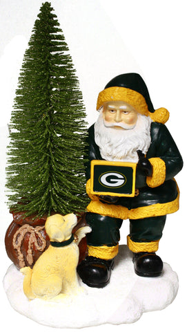 Green Bay Packers Santa w/ LED Christmas Tree Holiday Figurine