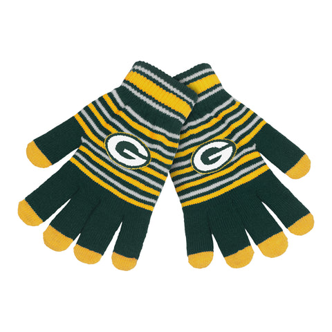 forever collectibles,green bay packers,stripe,knit,insulated,gloves,cold weather gear,accessories