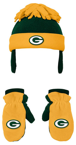 genuine,outerstuff,green bay packers,winter,set,gloves,mittens,hat,cap,headwear,clothing accessories,gear