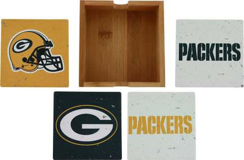 Green Bay Packers Vintage Square Coaster Set with Caddy