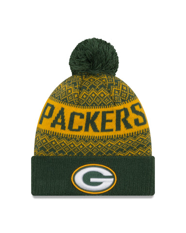 Green Bay Packers Wintry Pom 3 Knit Hat