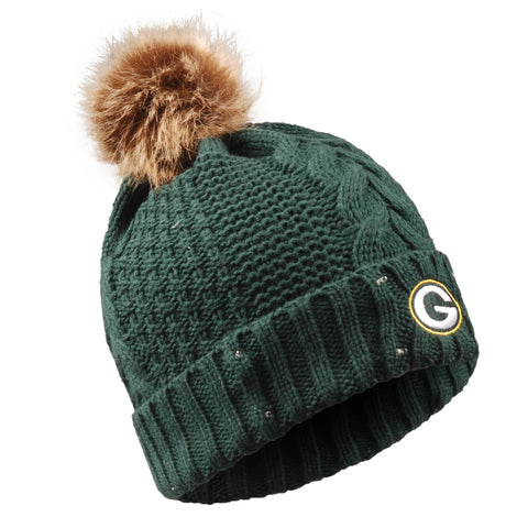 Green Bay Packers Women's Fur Pom Light Up Knit Hat