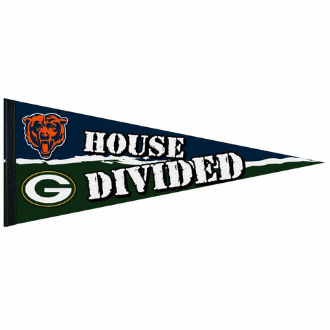 wincraft,green bay packers,chicago,bears,house,divided,pennant,sports,souvenir,collectible,wall,home,decor,decoration,hanging