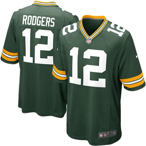 Green Bay Packers #12 Aaron Rodgers On-Field Style Youth Jersey, Medium