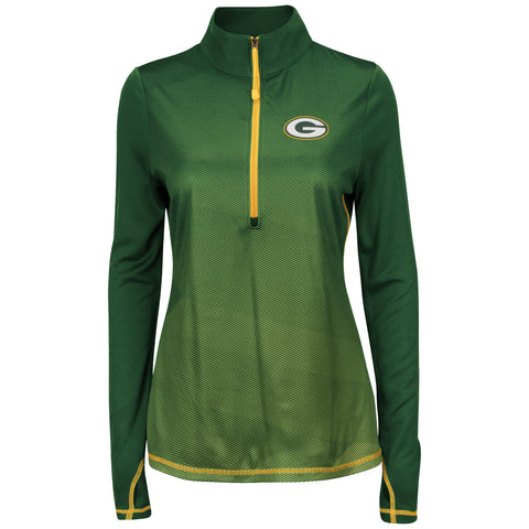 Green Bay Packers Play Action Women's Dark Green 1/2 Zip Pullover