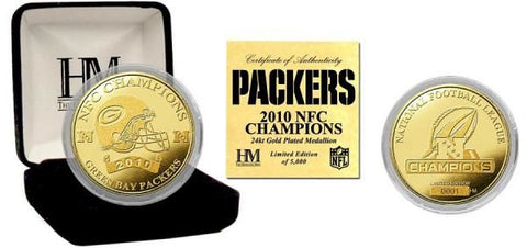 Green Bay Packers 2010 NFC Champions 24kt Gold Plated Limited Edition Coin