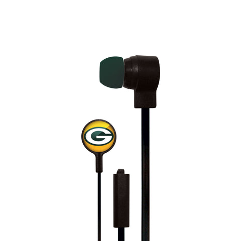 NFL Green Bay Packers Big Logo Earbuds, Small, Black