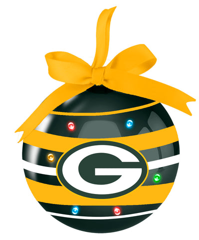 "Green Bay Packers Striped LED 3"" Ball Ornament"
