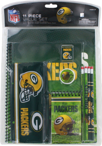 green bay packers,folder,spiral,notebook,memo,pad,pencils,eraser,sharperner,pencil,pouch,bag,back,to,school,supplies