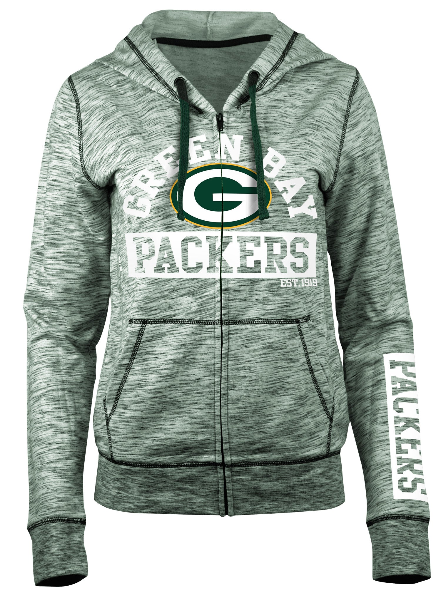 ca02ffc3 Green Bay Packers Space Dye French Terry Women's Hoodie