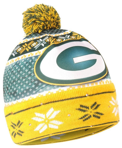 green bay packers,ugly,christmas,xmas,light-up,led,knit hat,cap,winter gear,clothing accessories,headwear