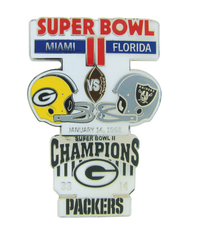 psg,pro,specialties,group,green bay packers,superbowl,super,bowl,ii,2,historic,commemorative,lapel,pin,brooch,brooches,jewelry,clothing accessories