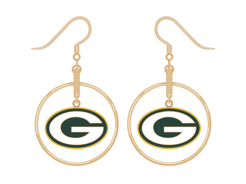 Green Bay Packers Gold Tone Hoop/Logo Earrings