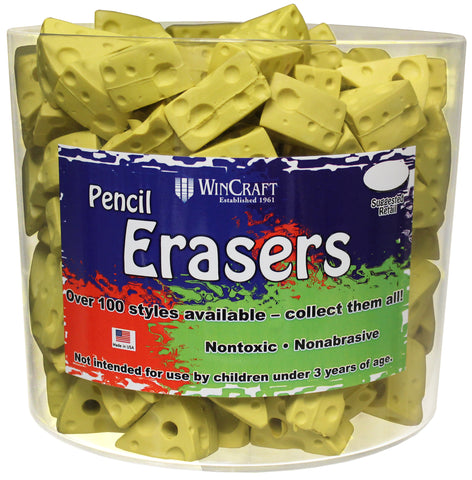 Cheese Wedge Pencil Erasers Tub of 200